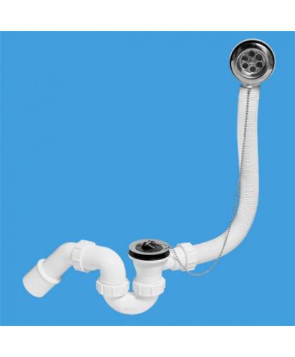 "MRB1 Трап (1 1/2'х40мм) для ванн ""стандартный"" с переливом (L368ммхD34мм), нержавеющими решетками, пробкой и цепочкой; выход Дн=40/50мм"
