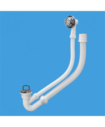 MRB4C Трап (1 1/4'х40мм) для ванн с переливом (L500ммхD25мм) с пластиковыми решетками, пробкой, гибкой отводной трубой (L500ммхD37,5мм); выход Дн=50мм; цвет-хром