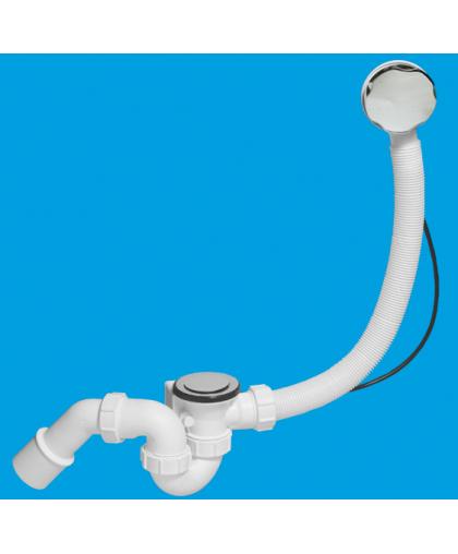 MRB2CB1-PB Трап (1 1/2'х40мм) для ванн с автопереливом (L700ммхD34мм), металлическими поворотной головкой, 70мм сливной решеткой и 50мм пробкой; выход Дн=40/50мм; цвет-хром