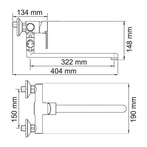 Isen 2602L Смеситель для ванны с длинным изливом wassercraft